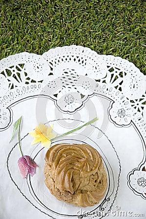 Dessert on green grass