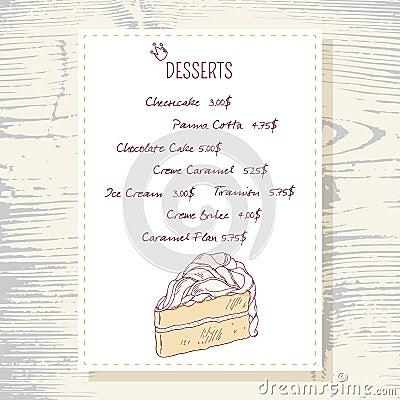 dessert menu template with sweet vanilla cake stock vector image 58113480. Black Bedroom Furniture Sets. Home Design Ideas