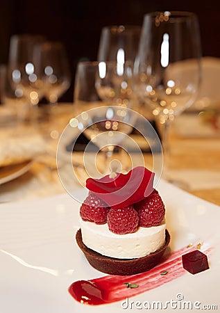 Dessert on plate in restaurant