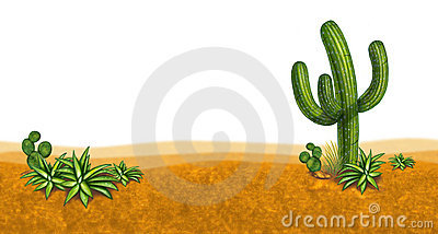 Dessert scene with cactus