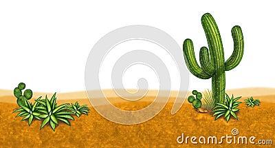 Dessert scene with cactus