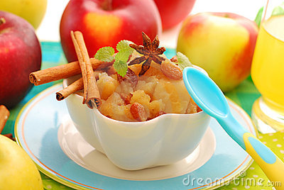Dessert with stewed apples for baby