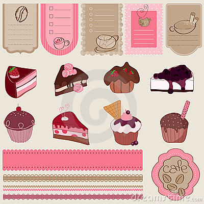Dessert and Sweets design element Set