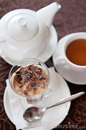 Dessert with tea