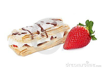 Dessert with whipped cream and strawberry