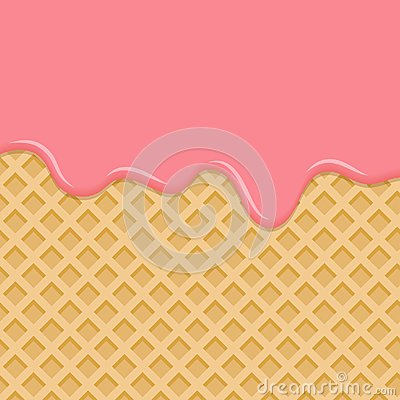 Free Dessert With Pink Cream, Melted On Wafer Background. Stock Photo - 110026200