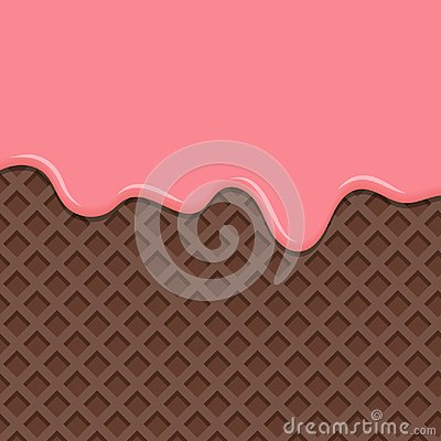 Free Dessert With Pink Cream, Melted On Wafer Background. Royalty Free Stock Image - 110026206