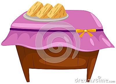 Dessert on wooden table