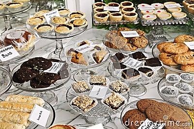 Desserts in bakery window