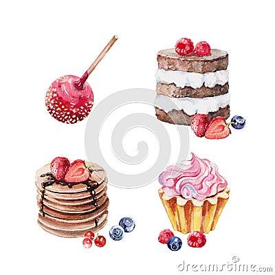 Desserts cake watercolor set Stock Photo