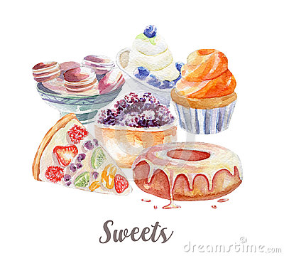 Desserts illustration. Hand drawn watercolor on white background. Cartoon Illustration