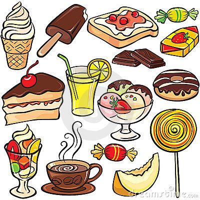 Free Desserts, Sweets, Drinks Icon Set Royalty Free Stock Images - 14372119