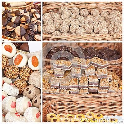 Desserts in wicker baskets