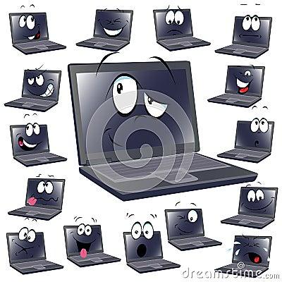 Dessin animé d ordinateur portatif