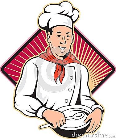 Dessin anim de cuvette de m lange de baker de cuisinier - Chef cuisinier dessin ...
