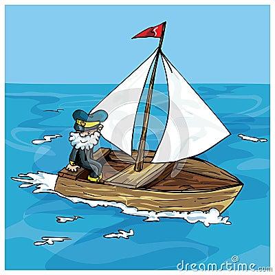Dessin anim de la navigation de l 39 homme dans un petit for Dans un petit bateau