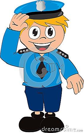 Dessin animé de policier de vecteur