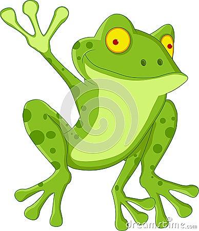 Dessin animé drôle de grenouille