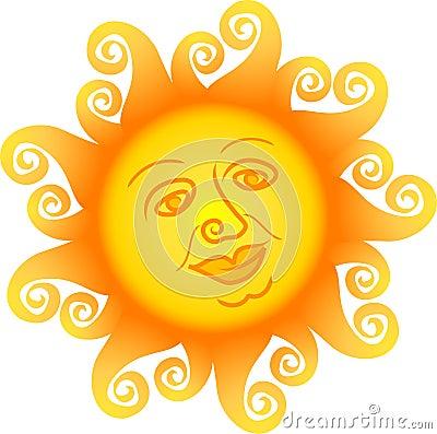 Dessin animé Sun Face/ai