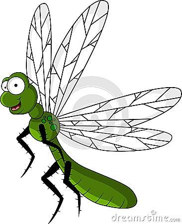Dessin animé vert drôle de libellule
