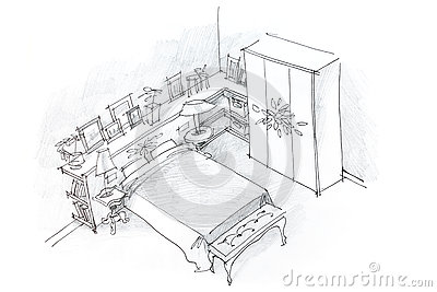 dessin au crayon main lev e d 39 int rieur de chambre coucher noir et blanc illustration stock. Black Bedroom Furniture Sets. Home Design Ideas