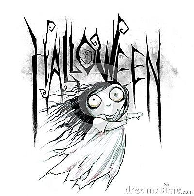 Dessin au crayon d 39 un titre de halloween illustration - Main dessin crayon ...