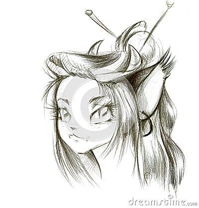 Dessin au crayon de jeune fille photos stock image 8397633 - Dessin de jeune fille ...