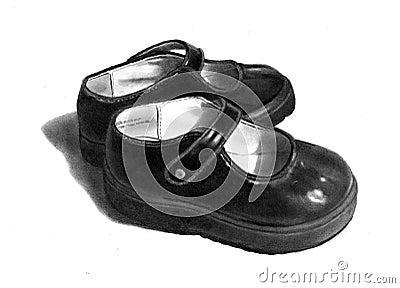 Dessin au crayon de petites chaussures noires