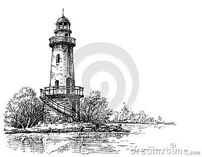 Dessin au crayon de phare illustration de vecteur image - Dessin de phare ...