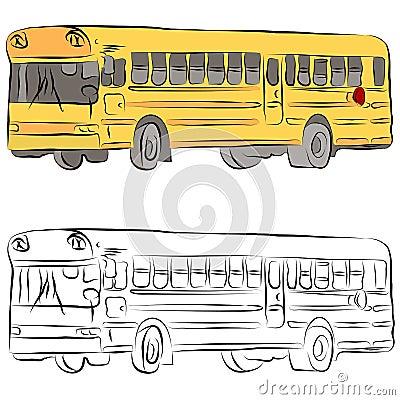 Dessin au trait autobus scolaire image stock image 19526551 - Autobus scolaire dessin ...