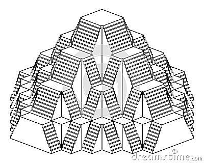 Dessin au trait construction de conception d 39 escalier de - Dessin de pyramide ...