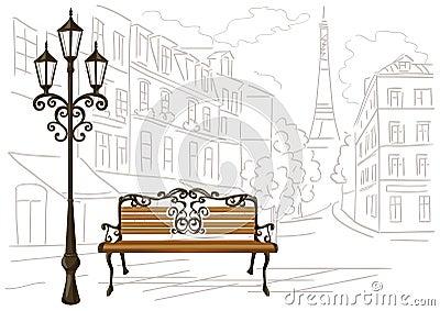 dessin au trait de paris d 39 un banc et d 39 une lanterne illustration de vecteur image 58858095. Black Bedroom Furniture Sets. Home Design Ideas