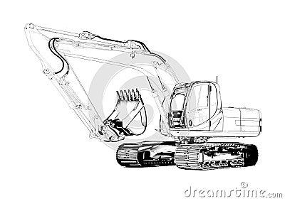 Dessin D'art D'isolement Par Illustration D'excavatrice ...