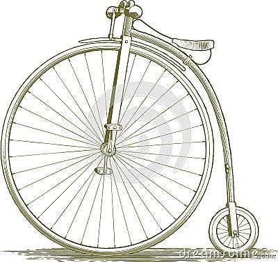 dessin de bicyclette de vintage de gravure sur bois. Black Bedroom Furniture Sets. Home Design Ideas