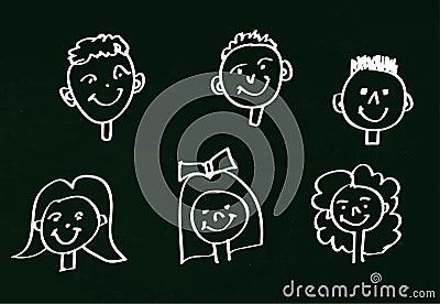 dessin de craie des visages des enfants heureux sur le. Black Bedroom Furniture Sets. Home Design Ideas