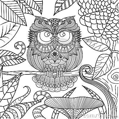 Dessin de hibou pour livre de coloriage illustration de vecteur image 58666300 - Coloriage de hibou ...