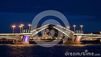 Dessin de pont de palais dans le St Petersbourg, Russie avec la forteresse de Peter et de Paul au fond la nuit banque de vidéos
