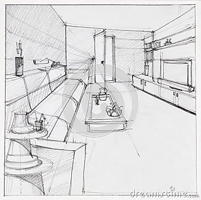 dessin de salon int rieur illustration stock image 42978561. Black Bedroom Furniture Sets. Home Design Ideas