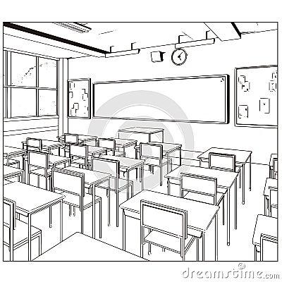 Dessin de vecteur d 39 une salle de classe illustration de vecteur image 68205692 - Dessin de classe d ecole ...