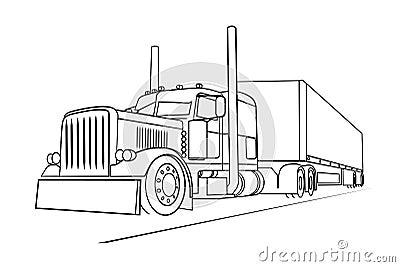 Fast Truck Clipart further Stock Illustratie Tekening Van De Vrachtwagen Die Een Lading Vervoert Image45662686 in addition How To Draw A Truck And Trailer likewise Peterbilt truck coloring pages moreover Rigs. on kenworth semi trucks