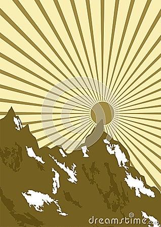 Dessin du soleil au-dessus des montagnes