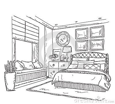 dessin int rieur moderne de chambre coucher illustration de vecteur image 66651458. Black Bedroom Furniture Sets. Home Design Ideas