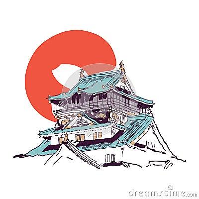 dessin japonais de maison photos stock image 34613403. Black Bedroom Furniture Sets. Home Design Ideas