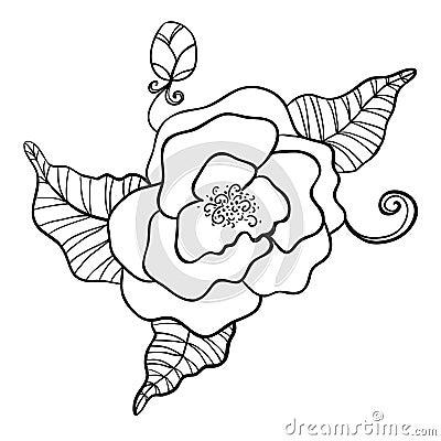 dessin noir et blanc de fleur photo stock image 32939070. Black Bedroom Furniture Sets. Home Design Ideas