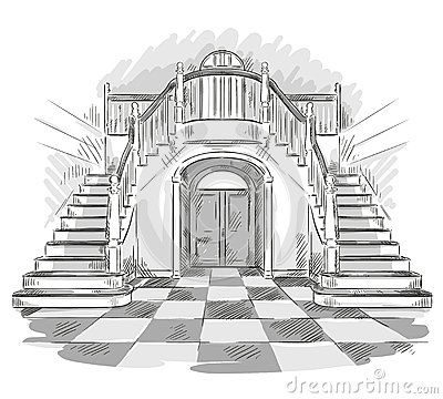 dessin spacieux de hall et d 39 escalier illustration de vecteur illustration de vecteur image. Black Bedroom Furniture Sets. Home Design Ideas