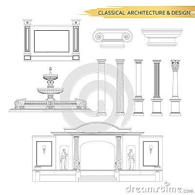 dessins architecturaux classiques de forme dans l 39 ensemble