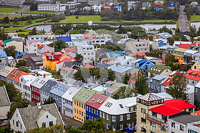 Dessus de toit de Reykjavik