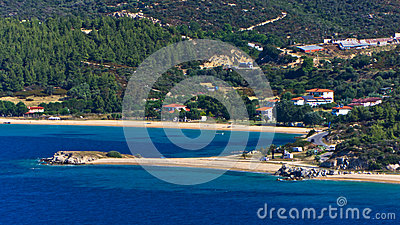 Destenika beach with campers favorite site for summer vacations in Sithonia Stock Photo