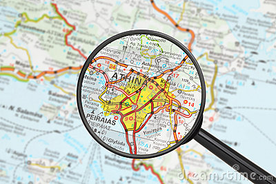 Destination - Athens (with magnifying glass)