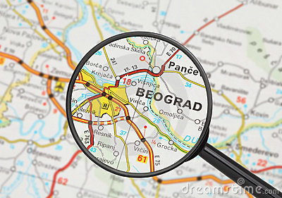 Destination - Belgrade (with magnifying glass)
